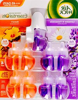 Air Wick Essential Oils 1 Warmer + 9 Bottles, Lavender Chamo