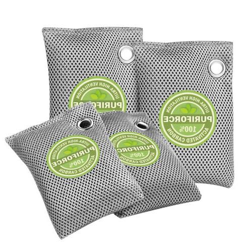 4 Pack Bags Nature Style Charcoal Coconut Purifier Odor