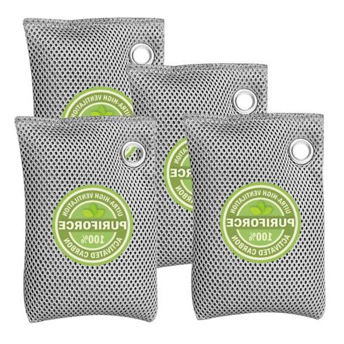 4 Pack Air Bags Nature Fresh Charcoal Mold Odor
