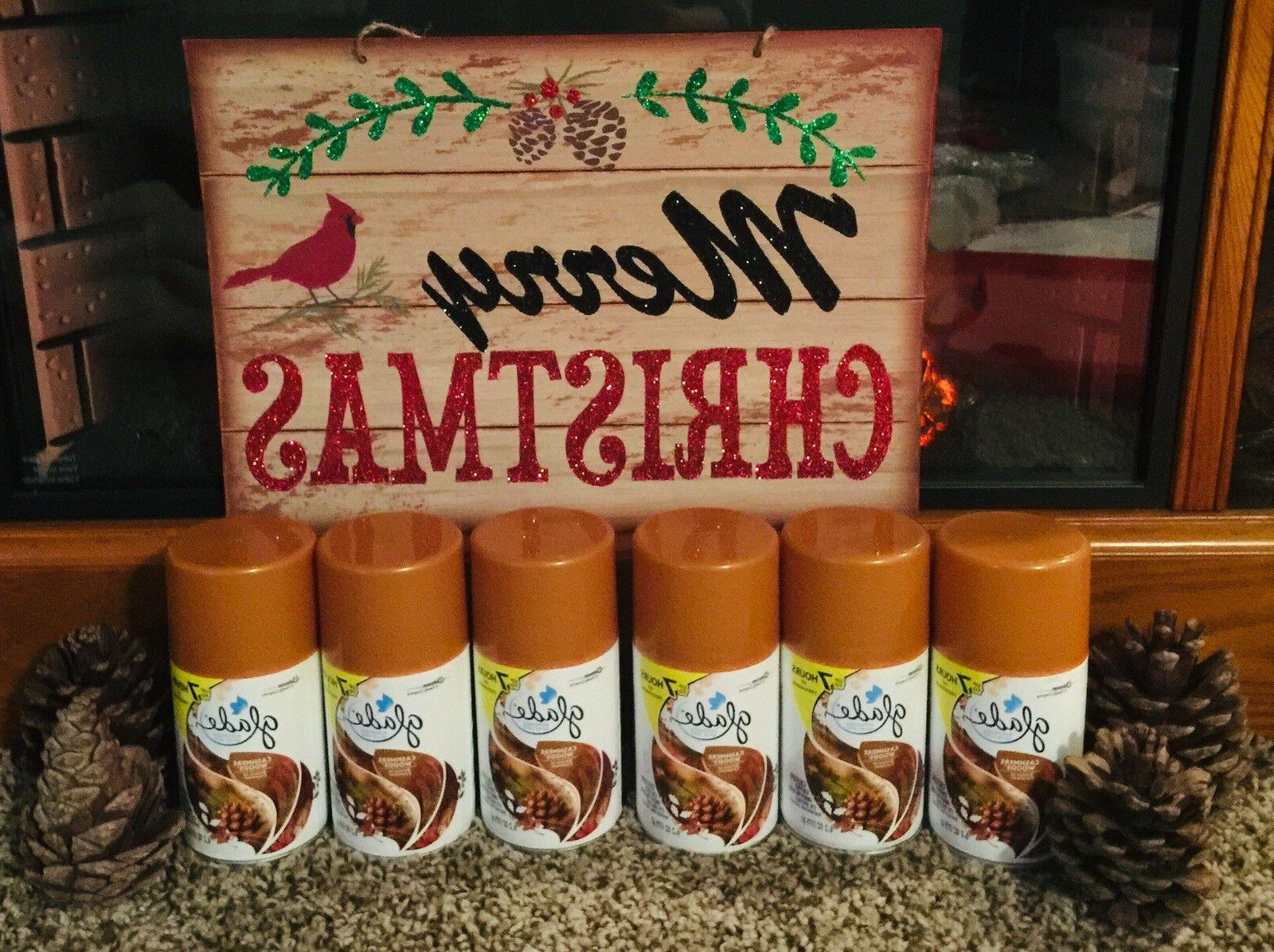 6 GLADE Automatic Freshmatic Spray REFILLS  ~ CASHMERE WOODS