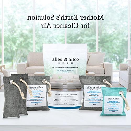 Colin Bella All Natural Odor for Home, Bathroom, Basement, Box, Activated Charcoal Purifier Freshener - and Pack