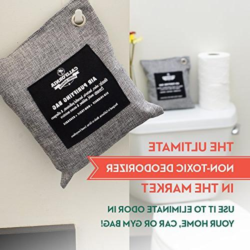 4 - Charcoal Home Car and Moisture Removal Charcoal Bags, Organic Activated Bamboo Purifying