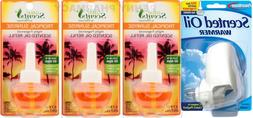 Plug In Air Freshener w/ 3 TROPICAL SUNRISE Refills